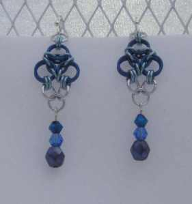 Anodized aluminum rings with crystal beads colors: royal blue, sky, and bright silver weave: aura size: