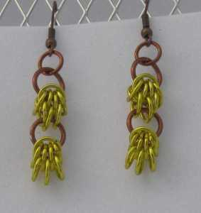 Anodized aluminum rings colors: yellow and bronze weave: scherzo size:
