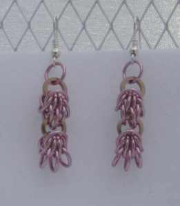 Anodized aluminum rings colors: pink and champagne weave: scherzo size: